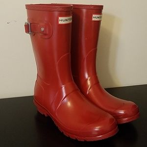 Original Short Gloss Hunter Boots Sz 8